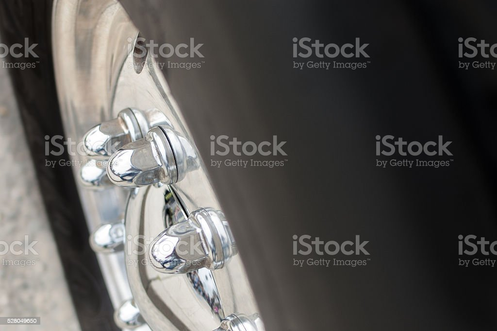 Close-up of a truck's wheel and tire stock photo