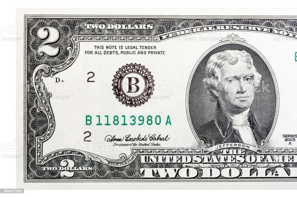 A close-up of a two U.S. dollar bill. Isolated stock photo