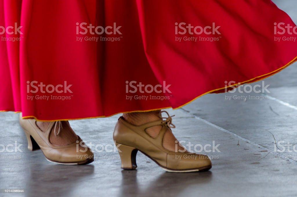 13e3008c040 gros plan d une typique de chaussures pour les chaussures de danse de  flamenco espagnol
