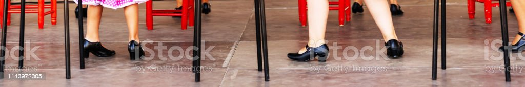 closeup of a typical shoes to the traditional Spanish flamenco dance...