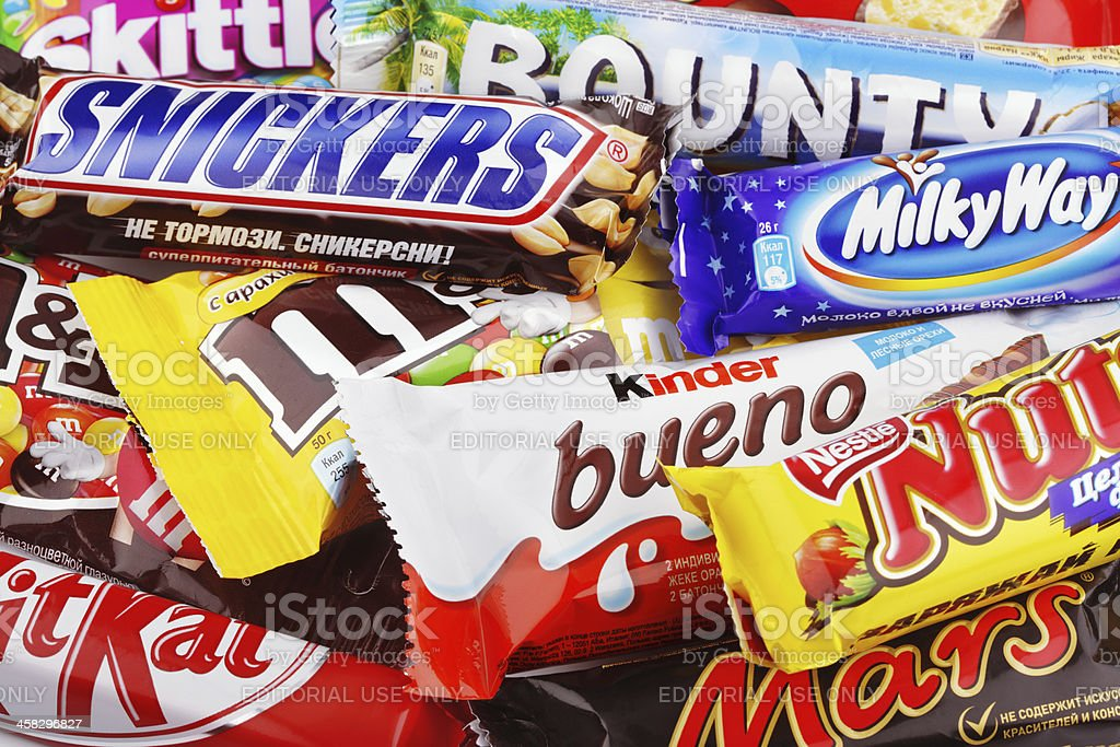 Closeup of a variety chocolate bars stock photo