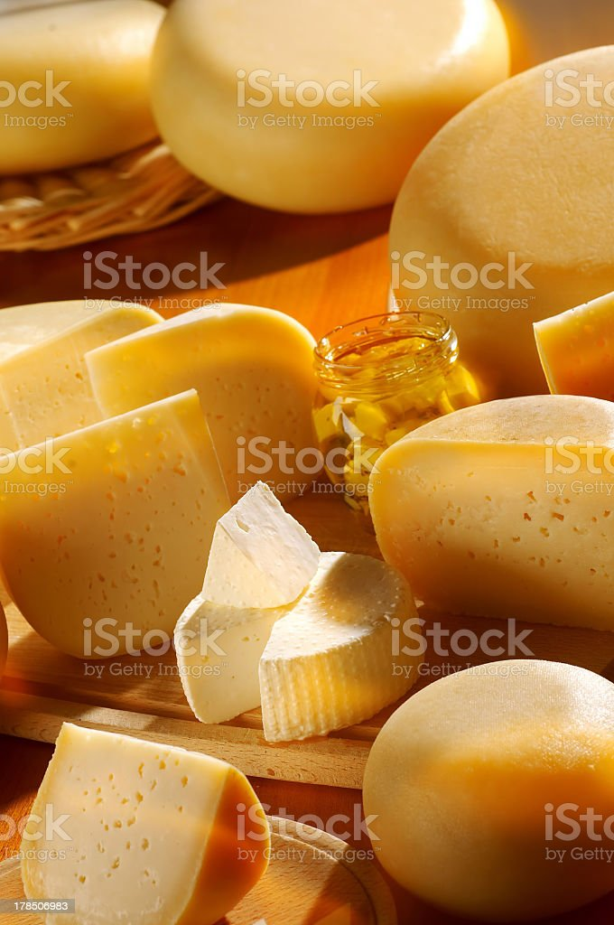 A closeup of a variety of cheeses royalty-free stock photo