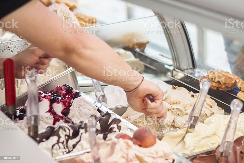 Close-up of a variety of ice cream flavors in a gelateria stock photo