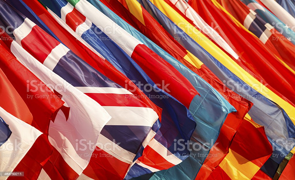 Closeup of a variety of national flags stock photo