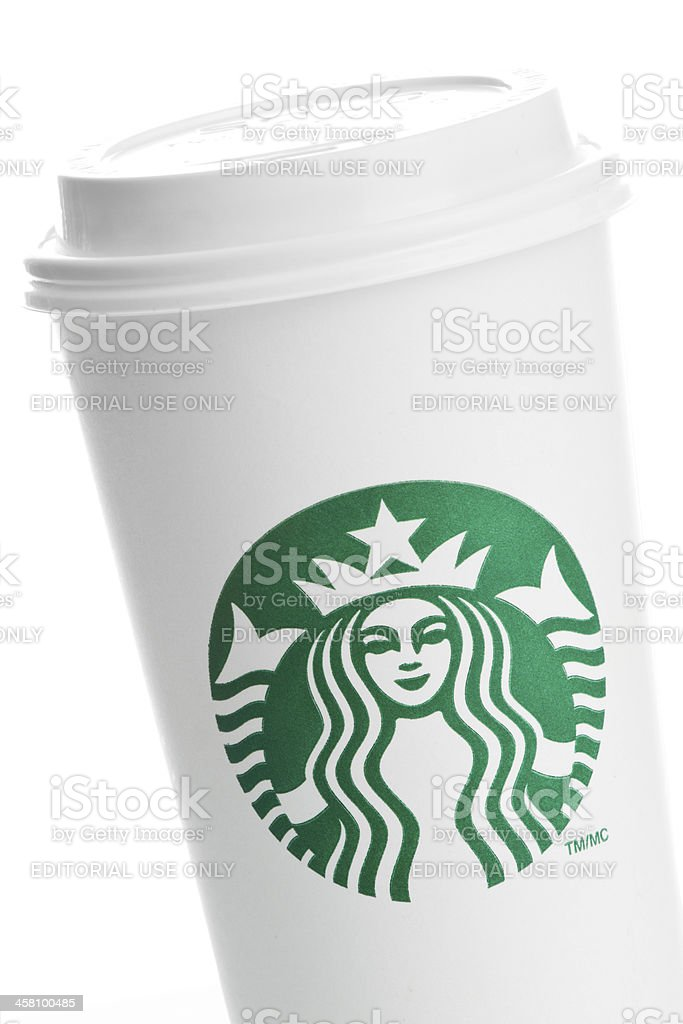 Closeup of a venti starbucks take out cup on white royalty-free stock photo