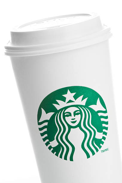 Closeup of a venti starbucks take out cup on white stock photo