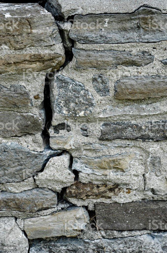 Gros plan d'une fissure verticale dans un vieux mur de Pierre - Photo de A l'abandon libre de droits