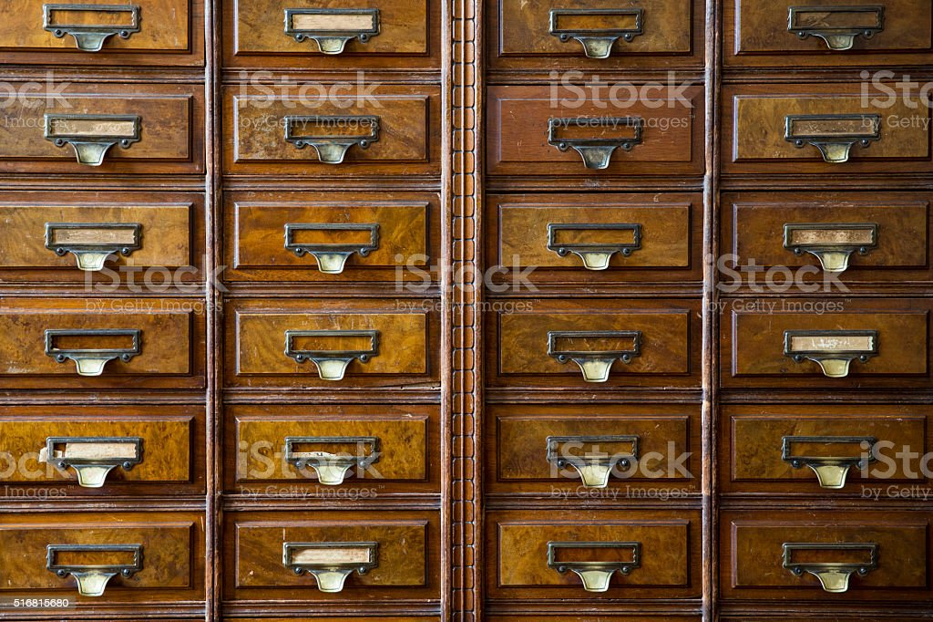close-up of a very old apothecary cabinet stock photo
