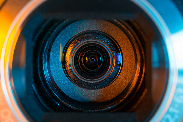 Close-up of a video camera lens as a background stock photo