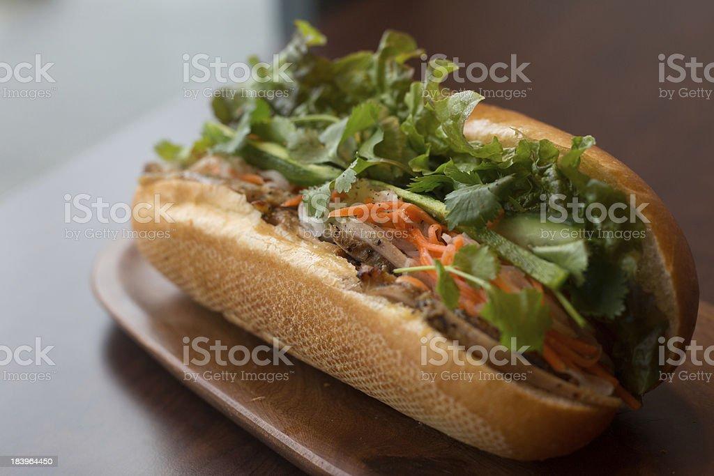 Closeup of a Vietnamese Banh mi sub sandwich stock photo
