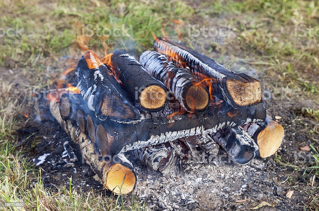 Closeup of a warm fire burning in the campfire royalty-free stock photo
