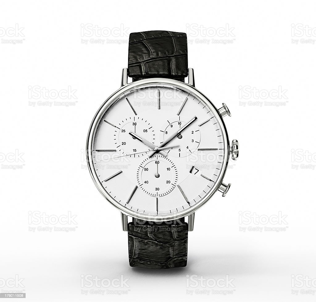 Close-up of a watch with a white face and blackstrap stock photo