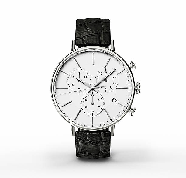 close-up of a watch with a white face and blackstrap - wijzerplaat stockfoto's en -beelden