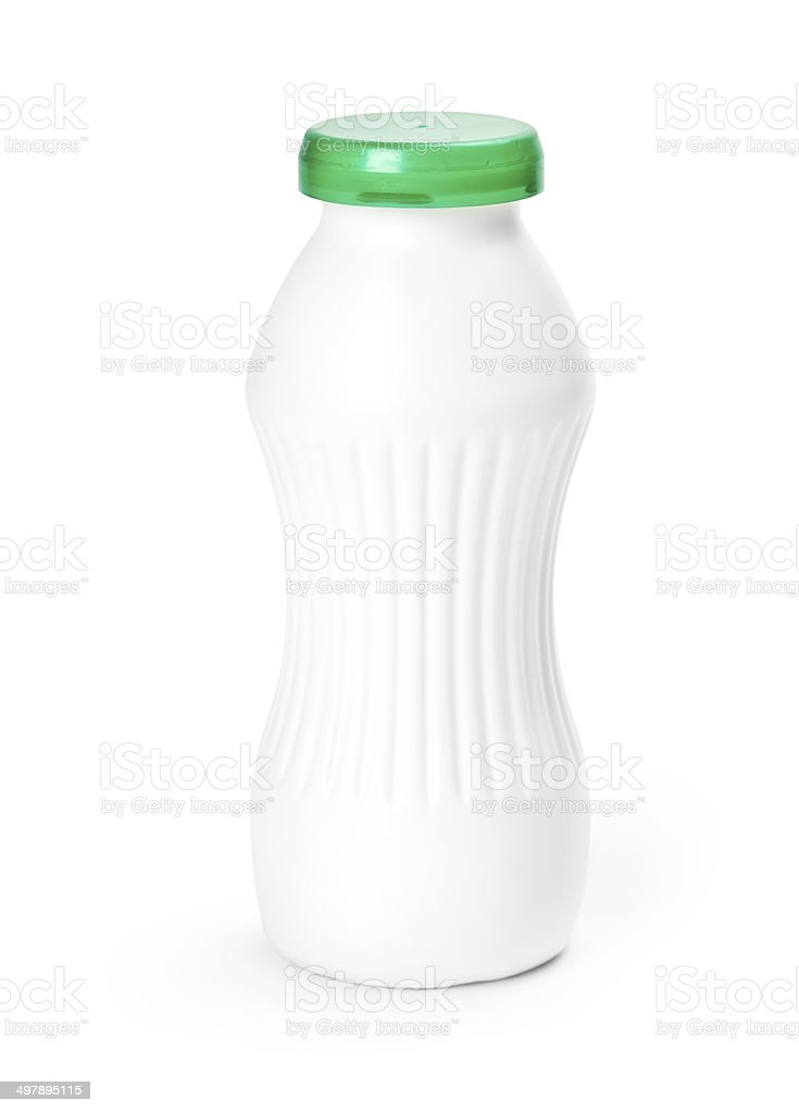 Close–up of a white bottle isolated on a white background stock photo