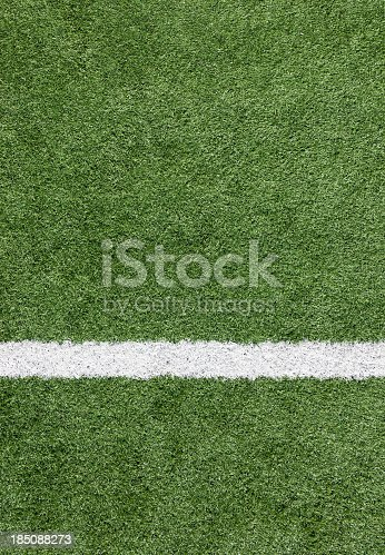 istock A close-up of a white line on a soccer field 185088273