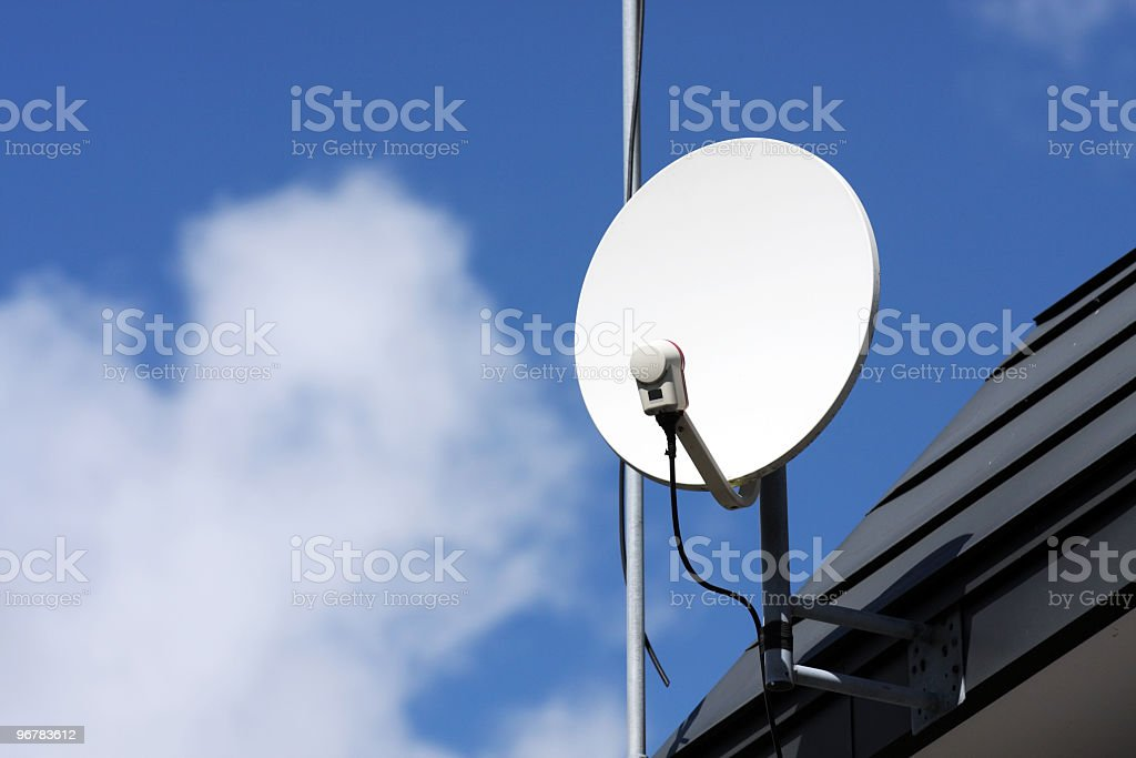 Close-up of a white satellite receiver dish on the roof royalty-free stock photo