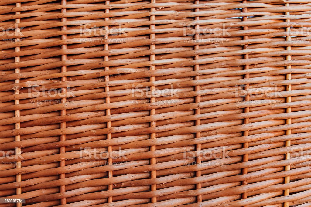 Close-up of a wicker woven basket stock photo