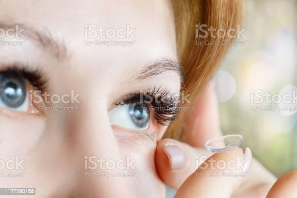 Closeup of a woman inserting a contact lens into her eye picture id1127280158?b=1&k=6&m=1127280158&s=612x612&h=mcz1u5fpnwojyznpijn snqrjuohe40 vsns9tkairm=