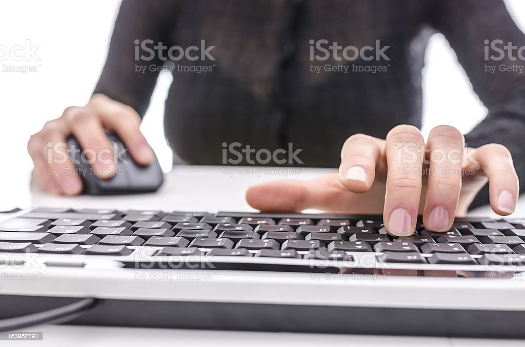 Closeup of a woman surfing the internet royalty-free stock photo