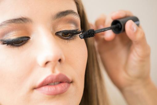 Closeup of a woman with mascara