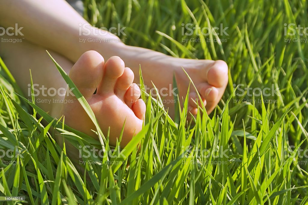 Close-up of a woman's bare feet laying in the grass royalty-free stock photo