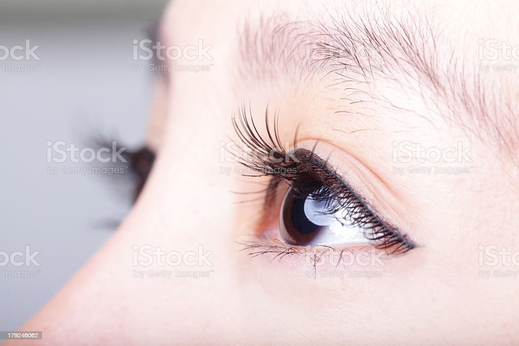 Close-up of a woman's brown eye and eyelashes stock photo