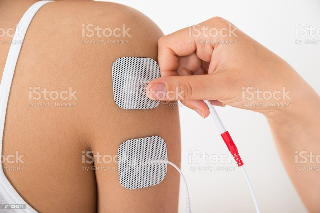 Close-up Of A Woman's Hand With Electrodes stock photo