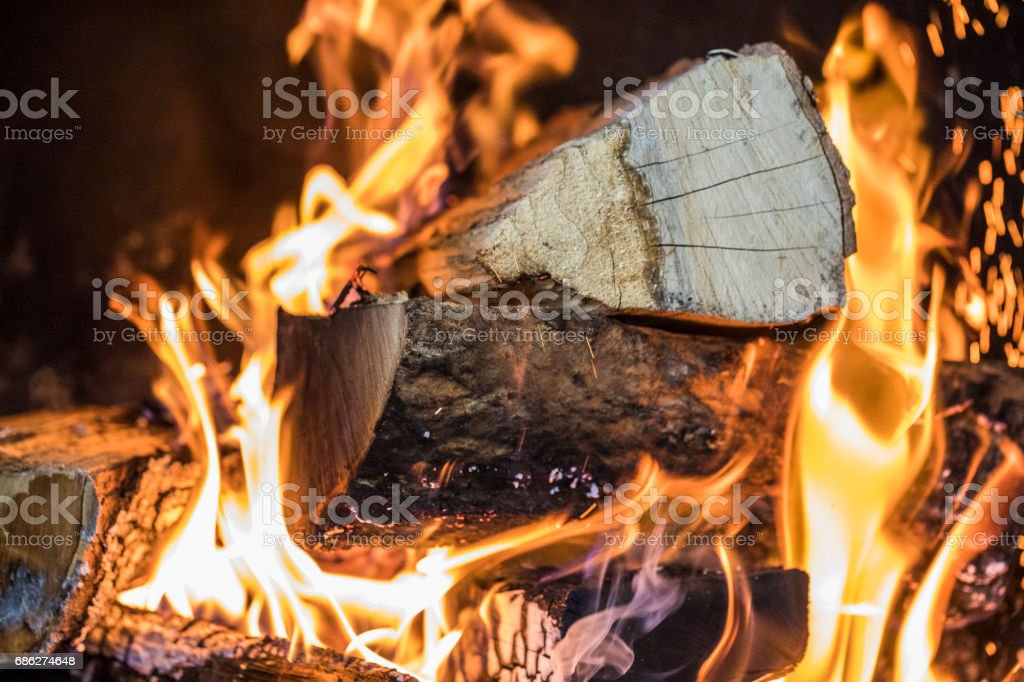 Close-up of a wood fire burning. stock photo