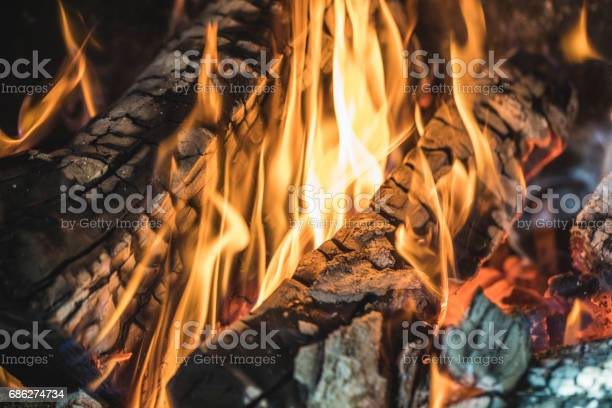 Photo of Close-up of a wood fire burning.