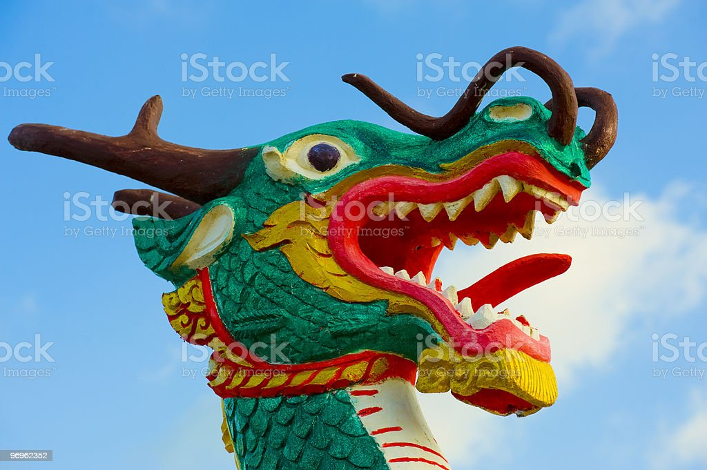 close-up of a wooden dragon royalty-free stock photo