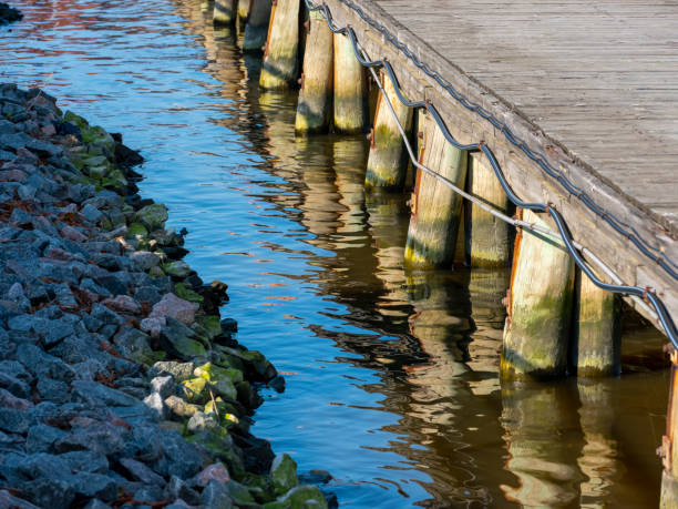 A close-up of a wooden wharf with some wooden abutments standing in the blue water. stock photo