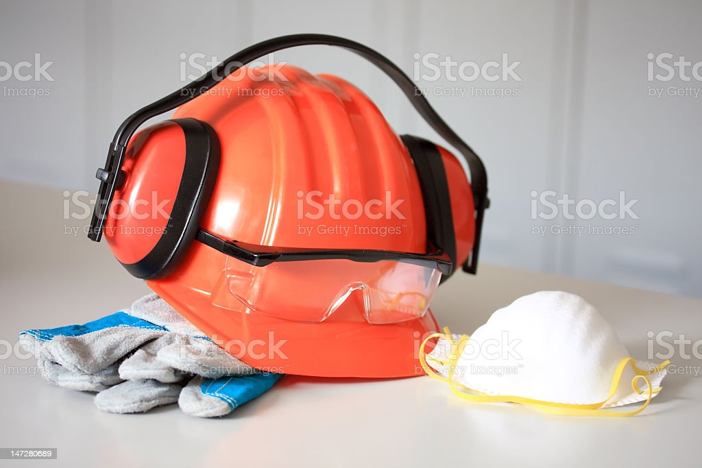 Close-up of a workman's protective gear royalty-free stock photo