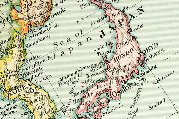 アンティークの地図 - 日本 地図 ストックフォトと画像