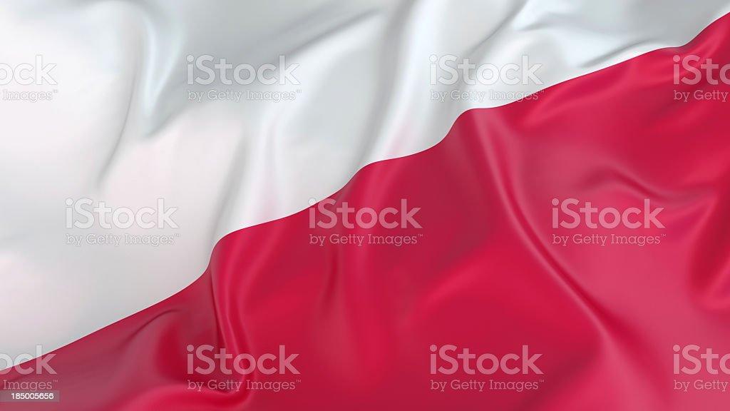 A close-up of a wrinkled Polish flag stock photo