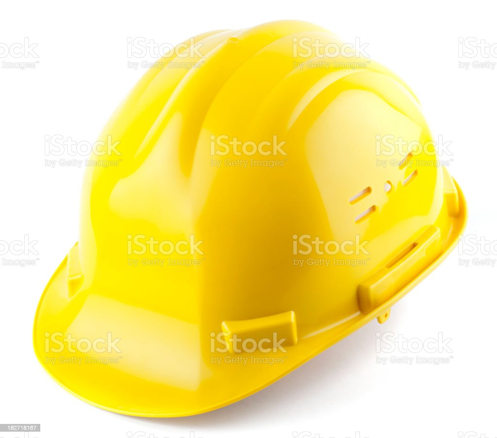 Close-up of a yellow hard hat isolated on white royalty-free stock photo