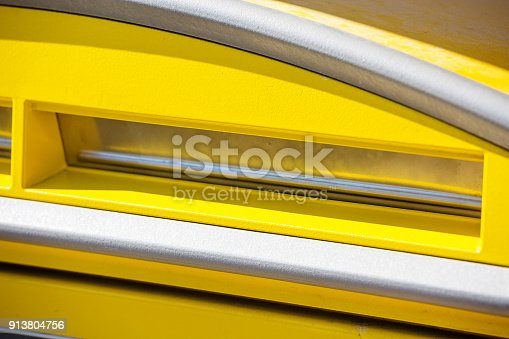 istock Close-up of a yellow post office 913804756