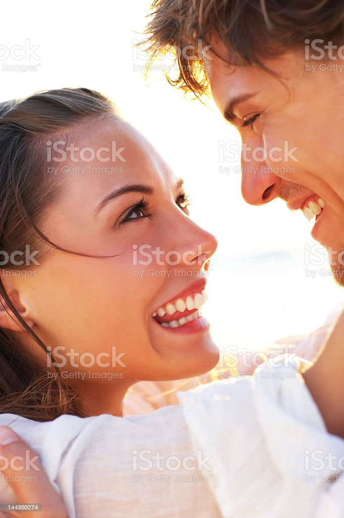 Close-up of a young couple looking at each other royalty-free stock photo