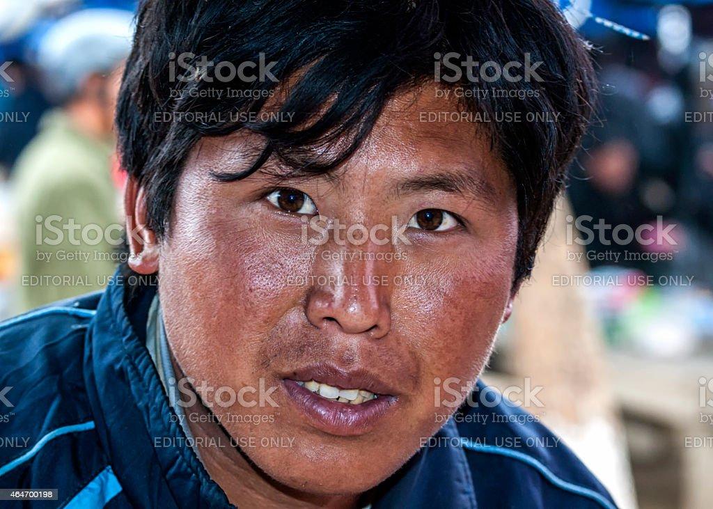 Closeup of a young Hmong man. stock photo