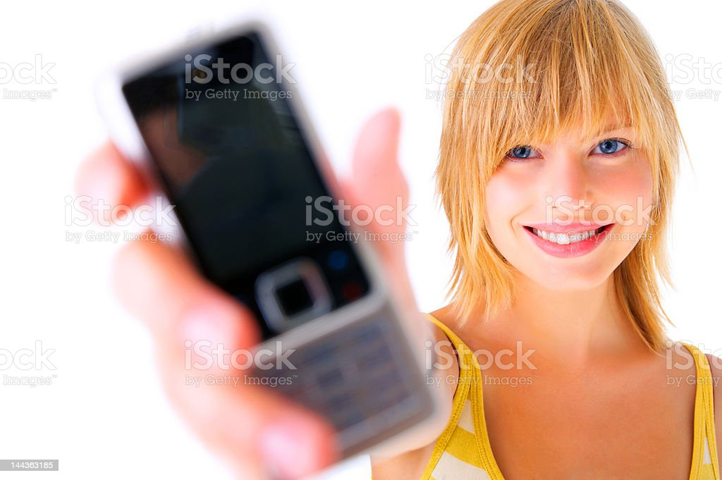 Close-up of a young woman holding mobile phone royalty-free stock photo