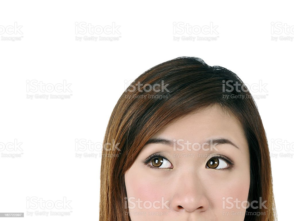 Closeup of a young woman looking up royalty-free stock photo