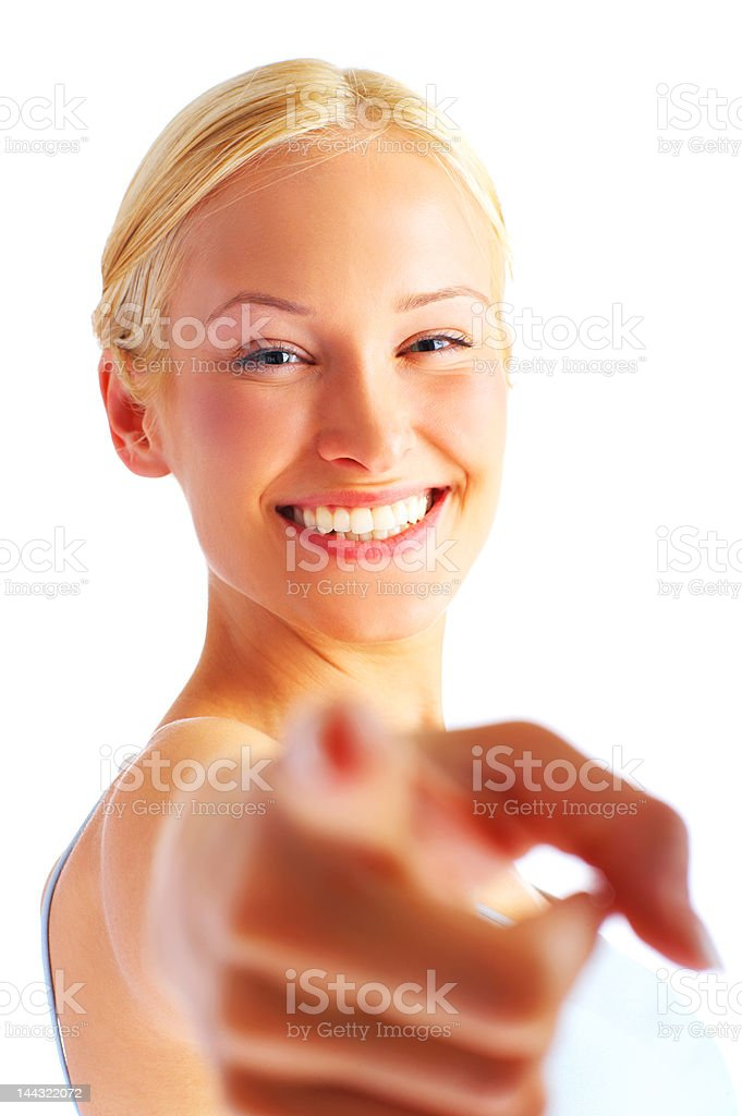 Close-up of a young woman pointing royalty-free stock photo