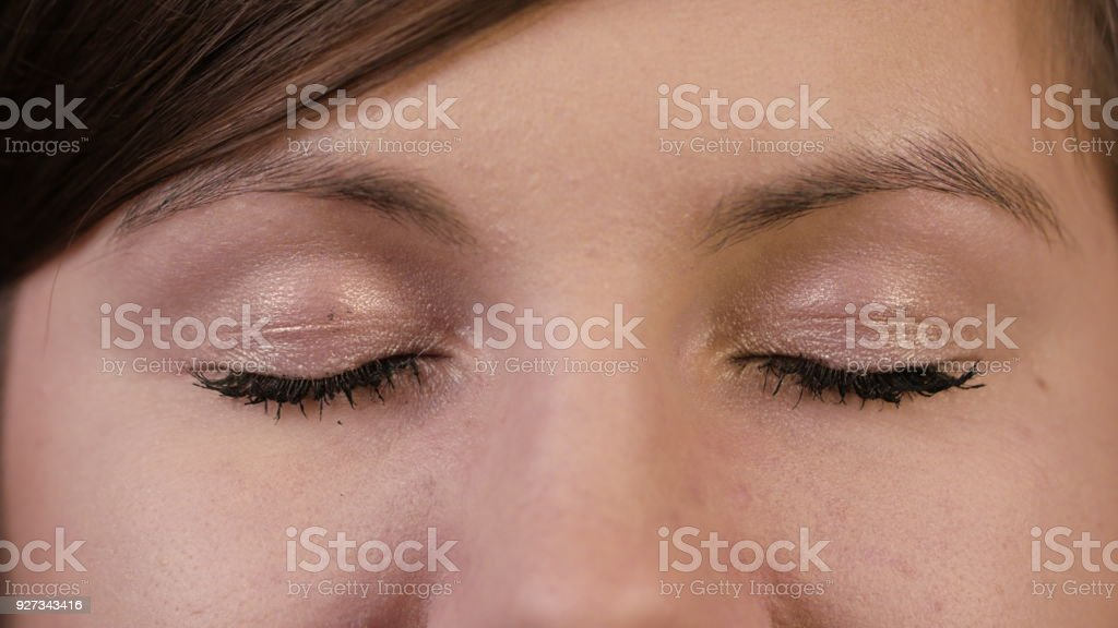 Closeup of a Young Woman's Eyes stock photo