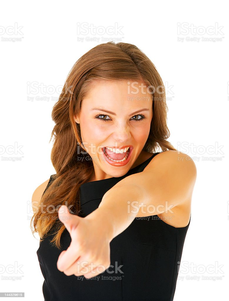Close-up of a youong woman showing thumbs up royalty-free stock photo