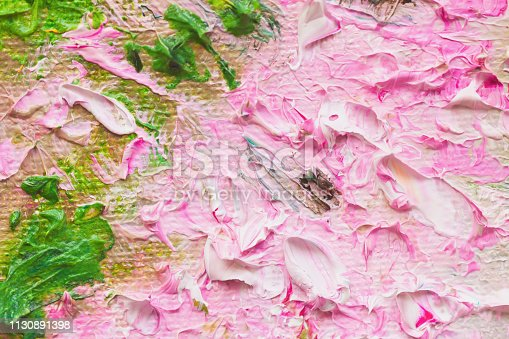 istock Closeup of abstract hand made background, pink flowers, texture of oil painting on canvas. Art design, for background 1130891398