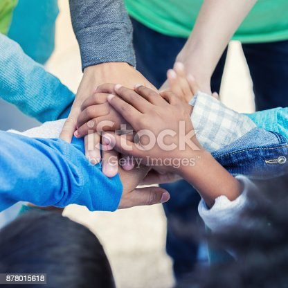 866758230 istock photo Closeup of adult and children stacking hands together outside 878015618
