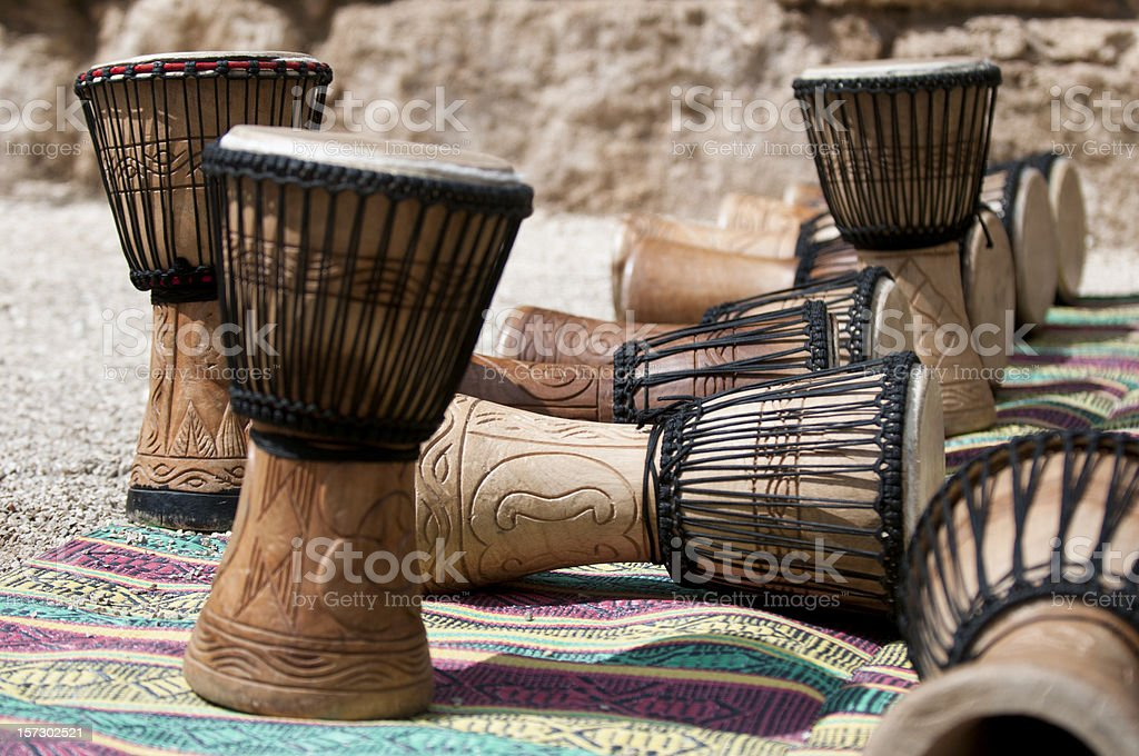 Close-up of African djembe drums stock photo
