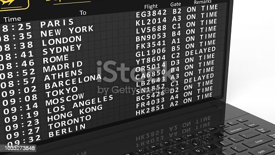 Illustration of laptop screen with airport schedule