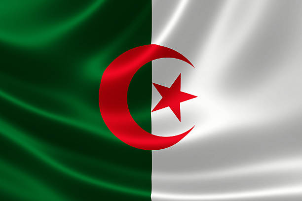 close-up of algeria's flag - algeria stock photos and pictures