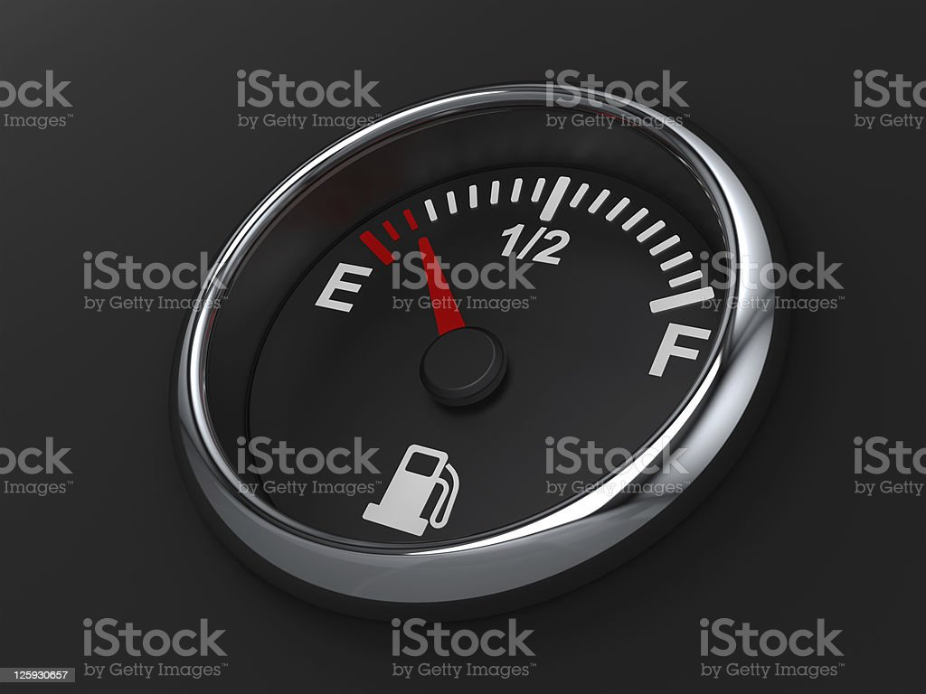 Close-up of almost empty fuel gauge stock photo