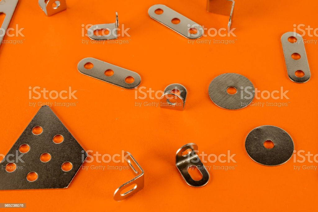 Close-up of aluminium joints for wood royalty-free stock photo
